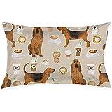 YSamuel Nuevo Bloodhound Fabric Perros y cafés Funda de cojín Throw Funda de Almohada Rectangular New Living Series Decorativo (50 X 75 Cm)