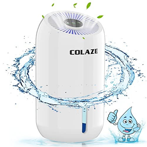 Dehumidifier For Home COLAZE 1800ML/60.87oz Electric Portable Dehumidifier for 480 Sq.ft, Small, Compact and Quiet Dehumidifier for Bedroom, Bathroom, Basement, Garage, Wardrobe, RV with 7 Color LED Light