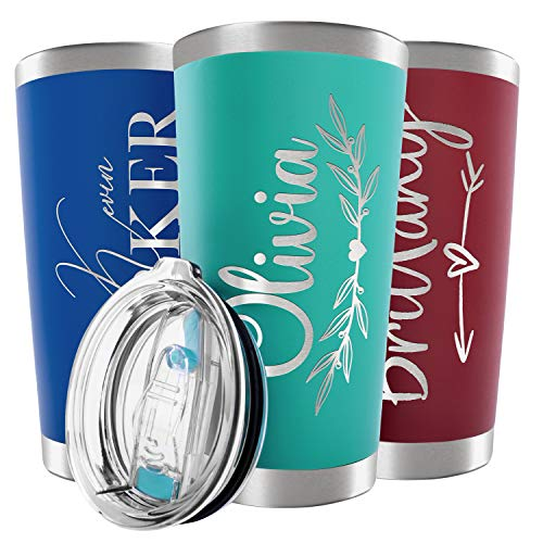 Mother's Day Gifts for Mom, Personalized Tumblers w/ Splash Proof Lid - 20 oz, Teal - 18 Designs - Vacuum Insulated Travel Coffee Mugs - Stainless Steel Double Wall Thermos - Personalized Cups