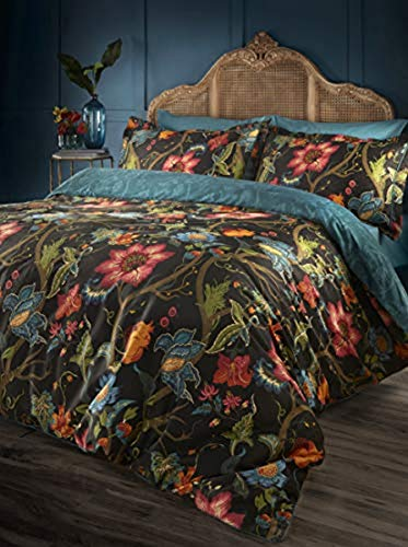 "Riva Paoletti Riva Home Botanist Duvet Cover Set-Cotton-Black/Multi-King Size-228Cm X 218Cm (90"" X 86"" Inches)"