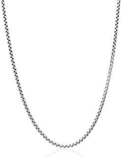 "Genuine Solid Sterling Silver Round Box Link .925 Rhodium Heavy-Duty Necklace Chains 1MM - 5MM, 16"" - 30"", Silver Chain fo..."