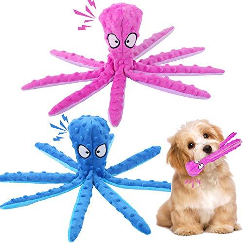 Sunshine smile 2 Stück Hundespielzeug, Hund Kauspielzeug,Kauspielzeug für Kleine/Große/Mittelgroße,Tintenfisch Spielzeug,Quietschende Spielzeug,Hundetraining Spielzeug,Intelligenz Kauspielzeug