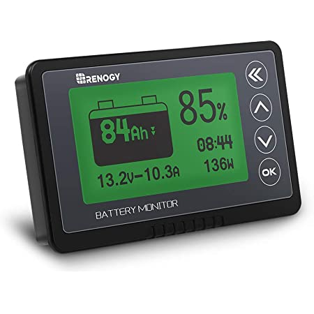 Renogy 500A Battery Monitor, High and Low Voltage Programmable Alarm, Voltage Range 10V-120V and up to 500A, Compatible with 12V Lithium Sealed, Gel, Flooded Batteries