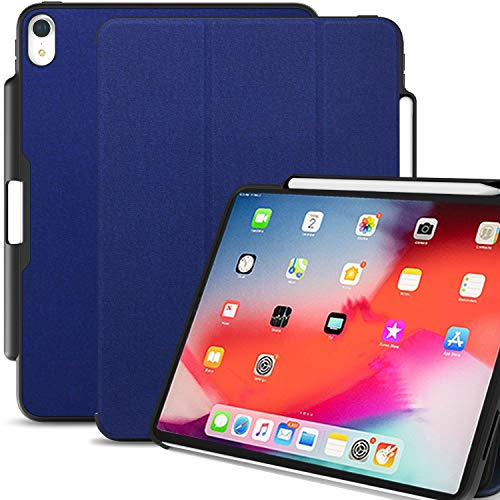 KHOMO iPad Pro 12.9 2018 (3e Gen) hoesje met potloodhouder en oplader, Dual Pen Case met Magnetic Smart Cover + Silicone Back voor Apple iPad Pro 12.9 2018 en Apple Pencil 2 - Navy Blue