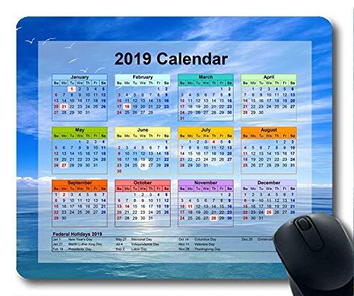 Calendario 2019 con Almohadillas Importantes para Las Fiestas, Alfombrilla para el ratón, Arte del Cielo Estrellado Alfombrilla de ratón para Juegos