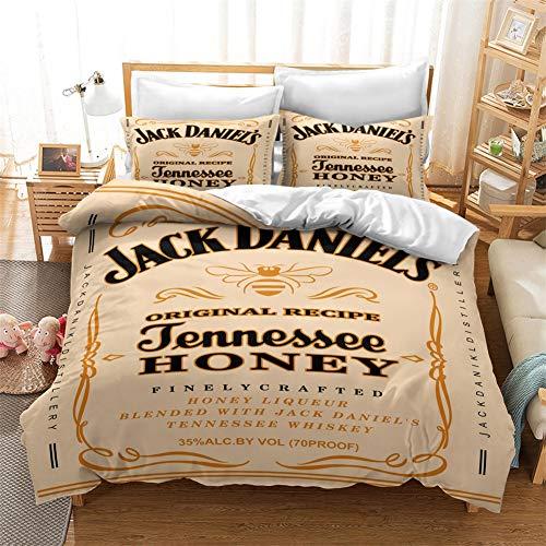 Jack Daniels Bedding Set dekbedovertrek set 3D Modern Whiskey Printed dekbedovertrek 3 stuks Bed Sets met 2 kussenslopen Single Double King Size voor slaapkamer decor,Jack 8,260x220cm