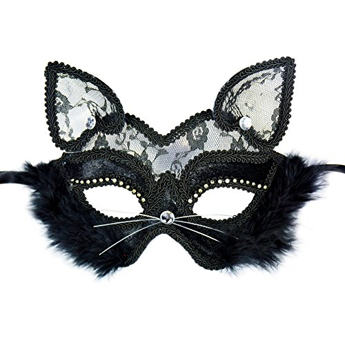Lace Masquerade mask Sexy cat Black face Halloween Ball Women Costume Masks