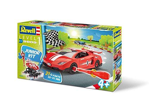 Revell 00800 Junior Kit Rennauto Modellbausatz für Kinder zum Schrauben, robuster Rennwagen zum Basteln und Spielen, ab 4+, kindgerecht, müheloses Verbinden weniger Teile, mit Aufklebern - RACING CAR