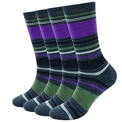 Enerwear-Coolmax 4 Pack Women's Merino Wool Outdoor Hiking Trail Crew Sock (US Shoe Size 4-10,Grey/Violet Stripe)