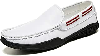 Shhdd Simple classic drive loafers men cursory of shoes, the slip-on business dress genuine leather flat round toe Anti-slip low top Cozy Shin (Color : White, Size : 43 EU)