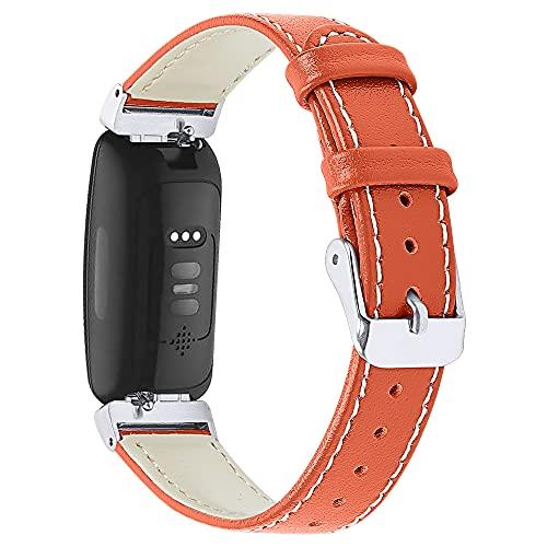 AISPORTS Compatible con Fitbit Inspire 2 Correa de piel para hombres y mujeres, suave, delgada, transpirable, correa de repuesto para Fitbit Inspire 2/Inspire HR/Inspire/Ace 2 Fitness Tracker