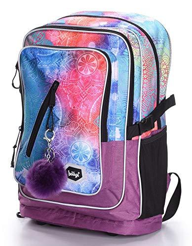 Schulrucksack Für Mädchen Teenager - Ergonomischer Kinderrucksack mit Laptopfach Für Schule - Extrem Leicht Rucksack mit Brustgurt und Reflektierenden Elementen by Baagl (Mandala)