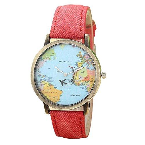 KanLin Mujer Reloj de Casual, Banda de Tela de Denim, Global Fly Mapa marcar (Rojo)