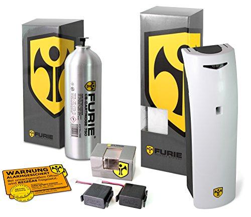 FURIE Reizgas Sprühsystem X-750 im Set mit CS-Kartusche & Batteriepacks, zur Einbruchsicherung
