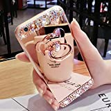 Bling <span class='highlight'>Case</span> for Samsung <span class='highlight'>Galaxy</span> <span class='highlight'>Note</span>9 Rose Gold <span class='highlight'>Case</span> LAPOPNUT Crystal Rhinestone Soft Rubber Bumper Cover Glitter Diamond Mirror Makeup <span class='highlight'>Case</span> with Cute 3D Bear Shape Ring Stand Holder