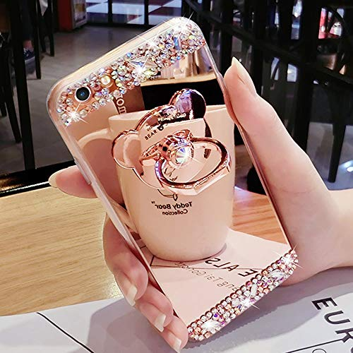 Bling Case for Samsung Galaxy S8 Rose Gold Case LAPOPNUT Crystal Rhinestone Soft Rubber Bumper Cover Glitter Diamond Mirror Makeup Case with Cute 3D Bear Shape Ring Stand Holder