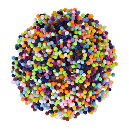 Relaxdays Pompons, kleine Bommeln zum Basteln, 2000er Mini Pom Set, Deko für Geburtstag & Hochzeit, D: 5 mm, bunt, Pack