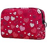 Bolsa de Maquillaje roja con Forma de corazón para el día de San Valentín, Bolsa de cosméticos portátil, Organizador de Viaje para artículos de tocador para Mujeres, diseño liviano