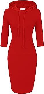 Women Hooded Dress 3/4 Sleeve Sweatshirt Pullover Stripe Keen Length Kangaroo Pocket Dress