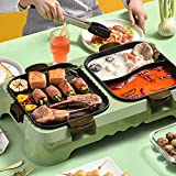 ZRXRY Rimovibile Senza Fumo Grill Elettrico e Hot Pot, 2200W Veloce di Calore Hot Pot con Korean BBQ Grill Padella Antiaderente, per 3-6 Persona Coperta e Ourdoor Barbecue Party
