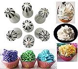Yookay rusa Boquillas Hielo Set, Consejos de tuberías de acero inoxidable 7PCS Esfera de la bola de la galleta DIY de pastel de crema pasta de azúcar