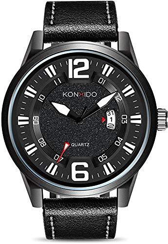 KONXIDO Herrenuhren, Mode Militärische wasserdichte Outdoor Sport Uhren für Männer, Großgesicht Analog Digitaluhr Dual Zeit Herren Quarz Analog Uhren (6328-Schwarz)