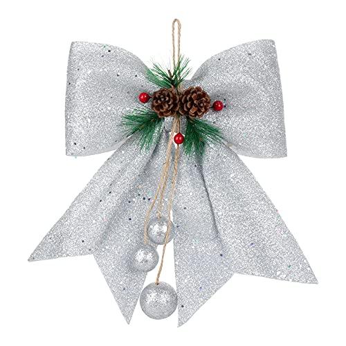 RIABXZ 4 arcos decorativos de Navidad, coronas plateadas, lazo con purpurina con conos de pino rojo y agujas para corona, guirnaldas, árboles, hogar, chimenea, árbol de Navidad, decoración de fiesta