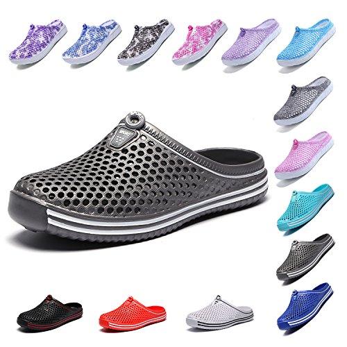 LIGHFOOT Garden Clog Shoes Beach Footwear Water bash Womens Summer Slippers 407Gray-42