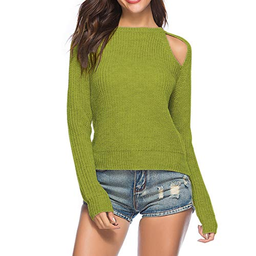 ZHUQI Sweater Damen Pullover Damen Sexy Rundhals Trägerlos Elegant Bequeme Mode Stricken Damen Tops Herbst Neues Langarm Temperament Lose Warm Damen Pullover B-Green M