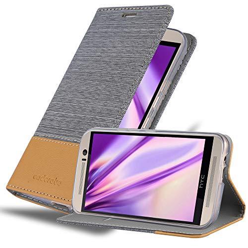 Cadorabo Hülle für HTC ONE M9 (3. Gen.) - Hülle in HELL GRAU BRAUN – Handyhülle mit Standfunktion & Kartenfach im Stoff Design - Hülle Cover Schutzhülle Etui Tasche Book