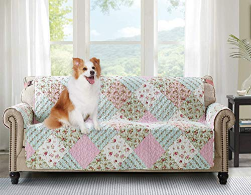 """Brilliant Sunshine Pink and Green Rose Patchwork, Reversible Large Sofa Protector for Seat Width up to 70"""", Furniture Slipcover, 2"""" Strap, Couch Slip Cover for Pets, Kids, Dogs, Sofa, Pink Green"""