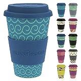 ebos Taza Amuleto de café para Llevar Hecha de bambú | Taza para Beber | Biodegradable y Respetuoso con el Medio Ambiente | Seguro para Alimentos, Apto para lavavajillas (Cool Waves)