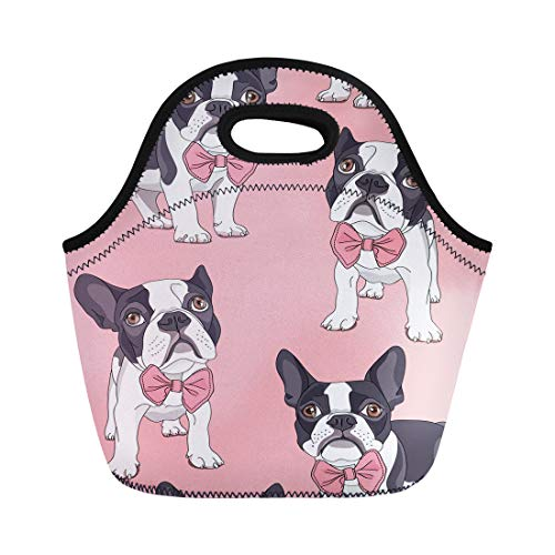 Semtomn Lunch Tote Bag Pattern French Bulldog Bow Tie on Pink Dog Pet Reusable Neoprene Insulated Thermal Outdoor Picnic Lunchbox for Men Women