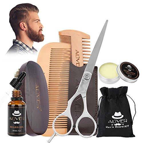 Kit pour le soin de la barbe, Set pour la barbe portable Set pour la Soin des Cheveux pour les Hommes avec ciseaux de coupe, simple et double, brosse peigne pour cheveux, Baume pour barbe 6Pcs