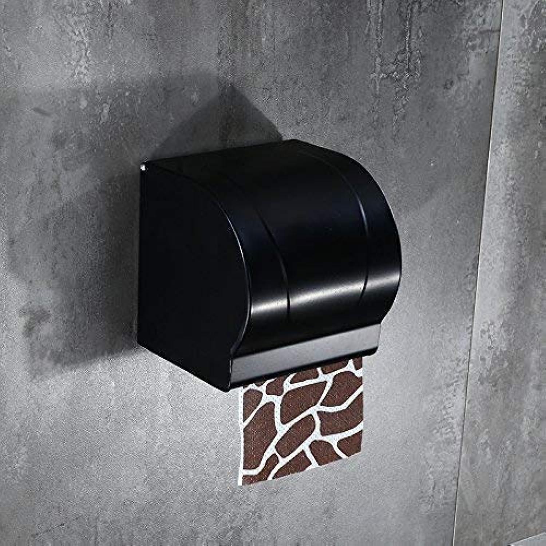 An der Wand montiert Schwarzer nicht perforierter Toilettenpapierhandtuchkasten, wasserdichter amerikanischer Papierhandtuchhalter der Toilette, Raumaluminium-Toilettenpapierrahmenbadezimmer für Küche B07MPVW37C