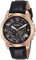 Fossil Men's Fs5085 Grant Chronograph Leather Watch - Black, Analog Display