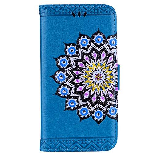 CXTcase Samsung Lederen Flip Telefoonhoesje met Kaarthouder Zachte TPU Binnenzijde Magnetische Stand Cover Mandala Bloemen Bloem, Samsung Galaxy S8, Mandala Blue
