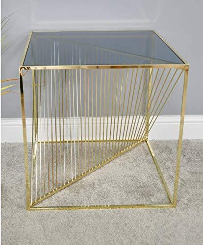 Sconosciuto Tavolino Quadrato in Metallo galvanizzato e Vetro temperato, 53 cm, Gold, 53x52x52cm