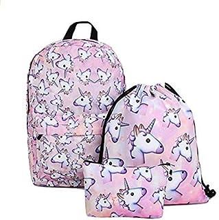 Unicorn Backpack for Girls 3pcs/set Print Rainbow Unicorn Backpack School College Bag for Teens Girls Students
