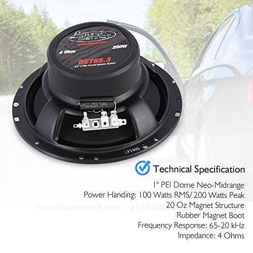 Standard 6.5'' -In. Car Speaker Size, Universal OEM Quick Replacement Component Speakers Vehicle Door & Side Panel Mount Compatible, 3-Way Stereo Pro Audio Car Speakers, (2) 6.5 -Inch Speakers- Lanzar
