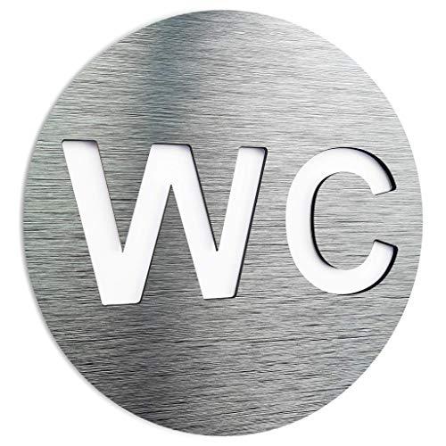 Aluminium Unisex bathroom door sign - Restroom wall art plaque - Indoor & outdoor signage - Universal WC symbol text - letrero de puerta de baño unisex - Toilet sign - Signo de aseo