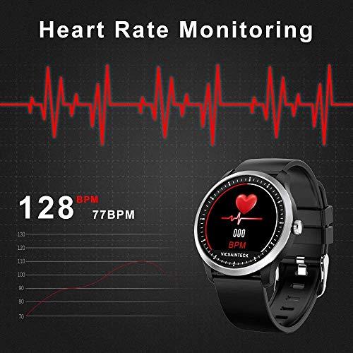 Vicsainteck Montre Connectée, Bluetooth Smartwatch Femmes Homme Enfant Fitness Tracker Bracelet Sport Podomètre Cardiofrequencemetre 1,22 Pouces Couleur Etanche pour Android iOS iPhone