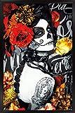 Trends International Día De Los Muertos - Tattoo Wall Poster, 22.375' x 34', Black Framed Version