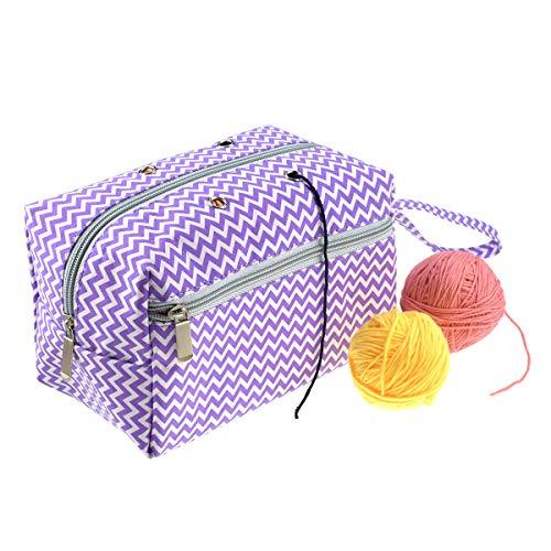 Looen Yarn Storage Bag,Drawstring Portable Knitting Bag for Crochet Project Yarn Skeins Crochet Hooks Knitting Needles Sewing Accessories Handicraft (Style 3, L)