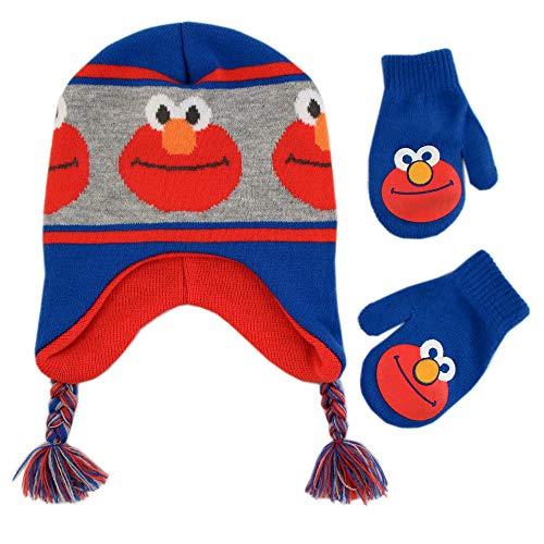Sesame Street Boys Winter Hat, Elmo Toddler Beanie and Mittens, Blue/Grey/Orange, Kids Age 2-4