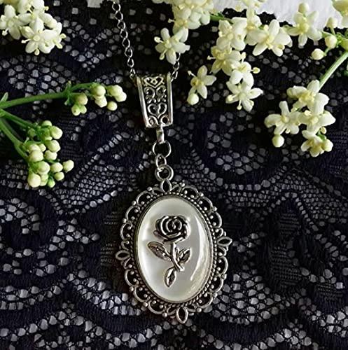 HJURTB Collar de camafeo Blanco Rosa pequeño gótico Victoriano. Joyas góticas Desnudas. Collar gótico romántico, Collar gótico Victoriano