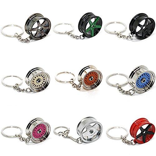 LED-Mafia Schlüsselanhänger Felge - Speiche Rad Metall - Anhänger (6er Speiche schwarz)