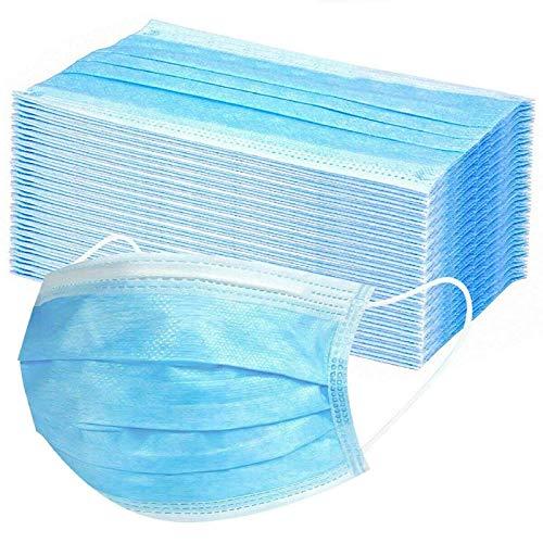 Langten-100 disposable face masks black, fluid resistant face mask iir, high filtration non-woven fabric, suitable for sensitive skin (blue)
