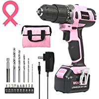 Workpro Pink Cordless 20V Lithium-ion Drill Driver Set with 1 Battery, Charger and Storage Bag (W004532A)