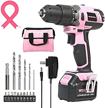 Workpro Pink Cordless 20V Lithium-ion Drill Driver Set